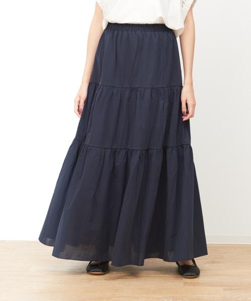 collex(コレックス)の「ティアードロングスカート(スカート)」|ダークネイビー