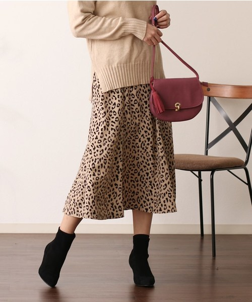 Gready Brilliant(グレディブリリアン)の「レオパード マーメイドフレアスカート(スカート)」|アイボリー