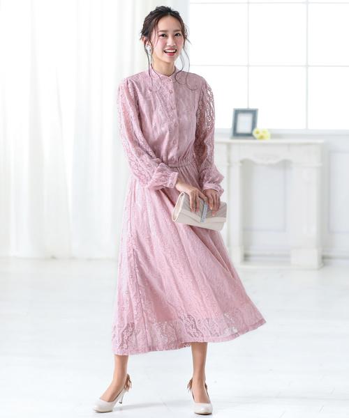 素晴らしい品質 スタンドカラー総レースクラシカルワンピース// 結婚式ワンピース・お呼ばれパーティードレス(ドレス)|kana(カナ)のファッション通販, アンダーウェア:ad434c2b --- svarogday.com
