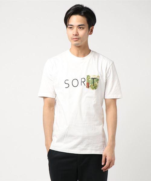 抗菌防臭加工オーガニックコットン花柄ポケット切替え半袖Tシャツ