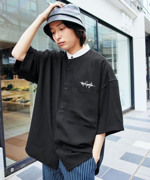 Mark Gonzales/マークゴンザレス MONO-MART別注 ブライトポプリン オーバーサイズ クレリック 1/2 sleeve バンドカラーシャツ