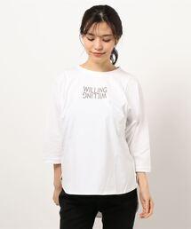 【THE CHIC】オーガニックコットンロゴヘムTシャツオフホワイト