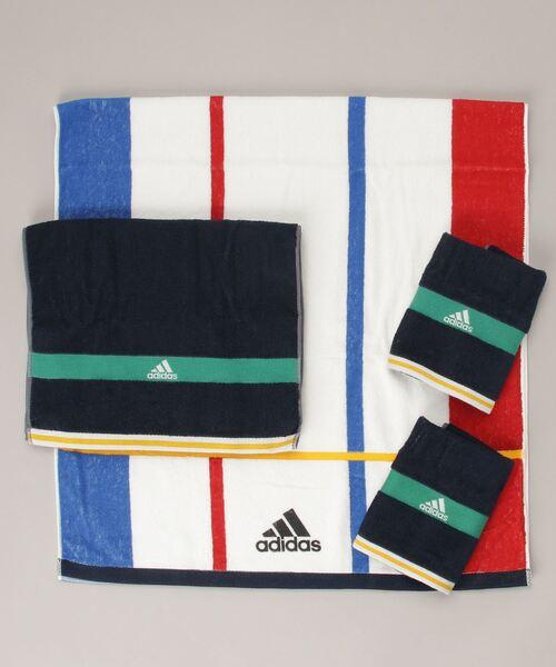 【 adidas / アディダス 】 バスタオル スポーツタオル タオルハンカチ 4点セット 063639500B TOB