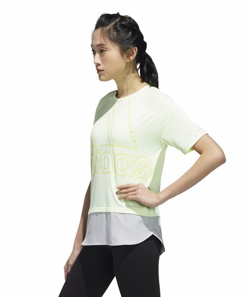 アディダス adidas W ID 半袖ファブリックMIX オーバーサイズビッグロゴTシャツ