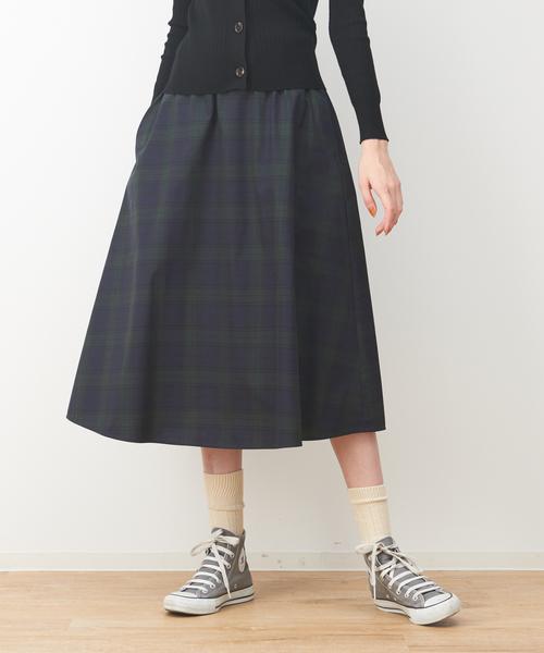 collex(コレックス)の「チェック2WAYミモレスカート(スカート)」 ネイビー