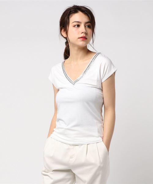 フレンチスリーブVネックTシャツ