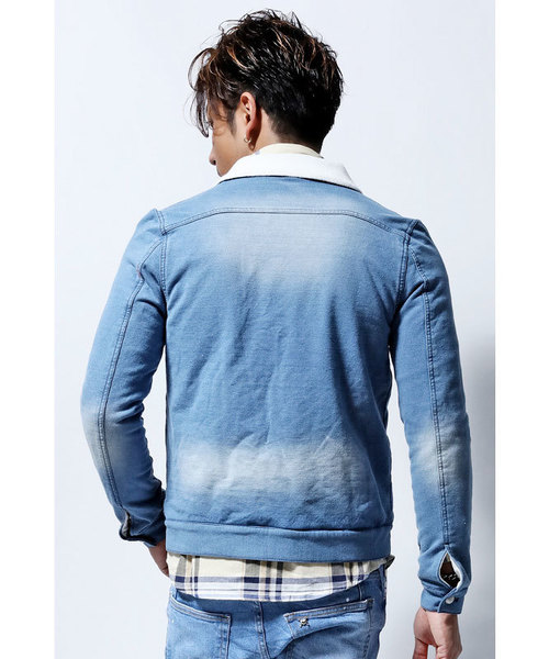 DEEP Processed Sweat Denim lining パイルジャケット