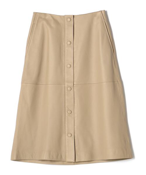 激安店舗 ESTNATION / ラムレザーフロントボタンAラインスカート, 福栄村 bde574c2