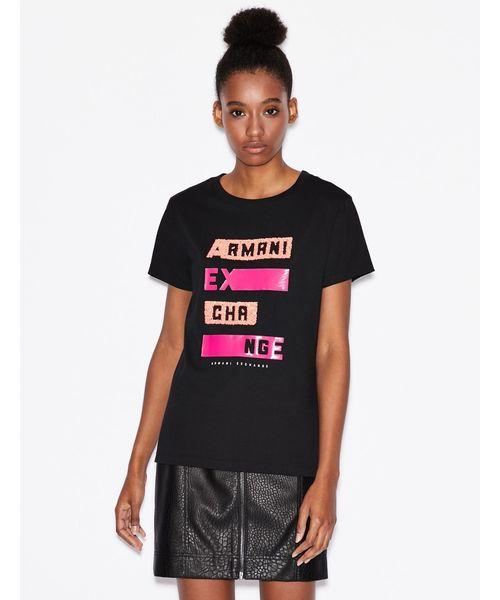 【A|Xアルマーニ エクスチェンジ】スパンコール&プリントロゴ 半袖クルーネックTシャツ/REGULAR