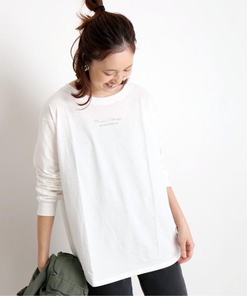 SLOBE IENA(スローブイエナ)の「mon village ロゴTシャツ◆(Tシャツ/カットソー)」 ホワイト
