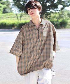 ファッションインフルエンサー ろむし × BASQUE magenta ハーフジップ バルーンシャツ 半袖