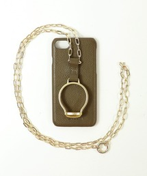 【 Hashibami / ハシバミ 】別注 iphone8/7/6/SE 天然石×チェーン スマホ・携帯カバー リング付きケースブラウン