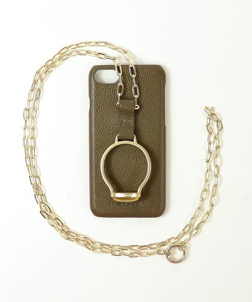 【 Hashibami / ハシバミ 】別注 iphone8/7/6/SE 天然石×チェーン スマホ・携帯カバー リング付きケース