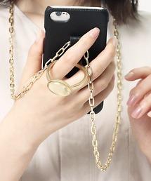 【 Hashibami / ハシバミ 】別注 iphone8/7/6/SE 天然石×チェーン スマホ・携帯カバー リング付きケースブラック