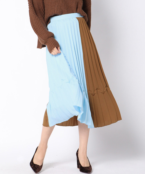 QUEENS COURT(クイーンズコート)の「配色プリーツスカート(スカート)」|ブラウン系その他2