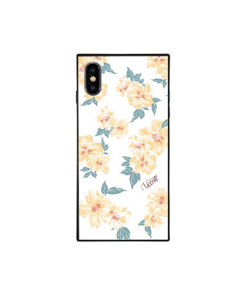 Vicente(ヴィセンテ)の「iPhoneケース Vicente ヴィセンテ 【iPhoneXS/X】 スクエア型 ガラスケース Gizmobies ギズモビーズ Daisy / Vintage Hawaiian(モバイルケース/カバー)」|ホワイト×イエロー