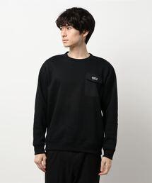 極暖ポケットトレーナー ヘビーウェイト生地 裏起毛 ルーズシルエット/オーバーサイズ ブランドロゴブラック