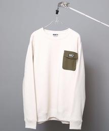 極暖ポケットトレーナー ヘビーウェイト生地 裏起毛 ルーズシルエット/オーバーサイズ ブランドロゴアイボリー