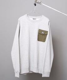 極暖ポケットトレーナー ヘビーウェイト生地 裏起毛 ルーズシルエット/オーバーサイズ ブランドロゴ杢グレー