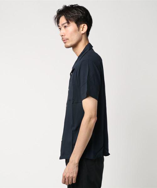 レーヨン無地オープンカラーシャツ開襟半袖シャツ