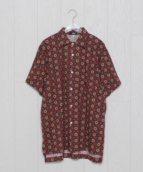 <USED>STUSSY PRINT SHORT SLEEVE SHIRT/シャツ.