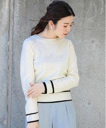 Gready Brilliant(グレディブリリアン)のミラノリブ裾配色ライン(ニット/セーター)