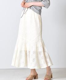 レースマーメイドスカートオフホワイト