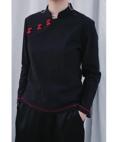 明天好好(ミンテンハオハオ)の「Ming-Teng  Blouse(Tシャツ/カットソー)」|ブラック