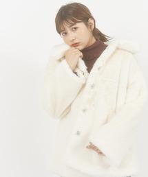 エコファーカラーコート/ボリューム袖オフホワイト