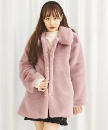 エコファーカラーコート/ボリューム袖ピンク