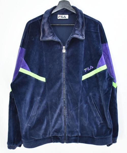 【ヴィンテージ古着】90s FILA フィラ フルジップ トラックジャケット ジャージ ベロア