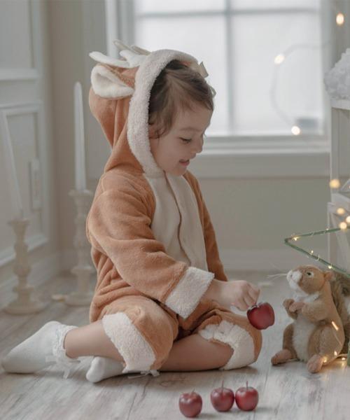 Catherine Cottage(キャサリンコテージ)の「クリスマス もこもこロンパース(ロンパース)」 ブラウン系その他