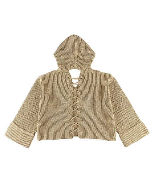 Back Lace-up Knit Hoodie/ニットフーディー