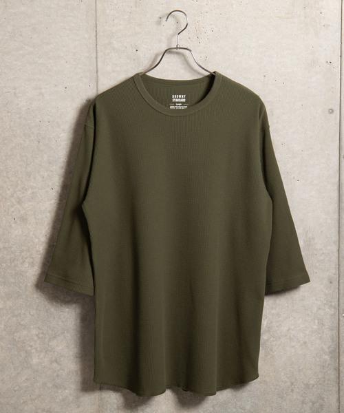 WEGO/ラウンドワッフル7分袖カットソー
