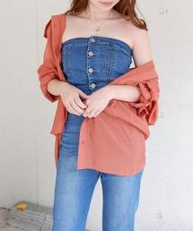 シースルーCPOオーバーシャツオレンジ