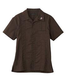 RED NAIL POLISH刺繍 キューバシャツカーキ