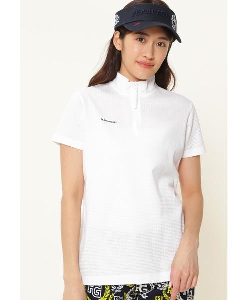 PEARLY GATES(パーリーゲイツ)の「【PEARLY GATES】ベア ジャガード 半袖 ハーフ ジップアップ プルオーバー <ESSENTIAL>(Tシャツ/カットソー)」 ホワイト