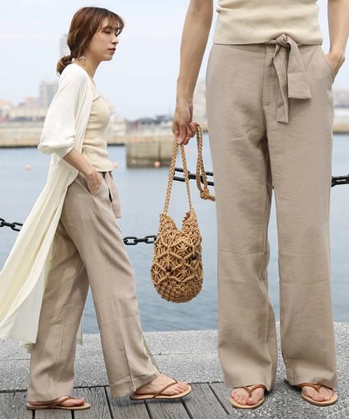 select MOCA(セレクトモカ)の「美シルエットハイウエストウエストリボン両サイドポケットタック入りワイドパンツ(パンツ)」|ベージュ