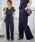 select MOCA(セレクトモカ)の「美シルエットハイウエストウエストリボン両サイドポケットタック入りワイドパンツ(パンツ)」|ネイビー