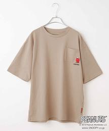 SNOOPY(スヌーピー)のピーナッツポケット刺繍T(Tシャツ/カットソー)