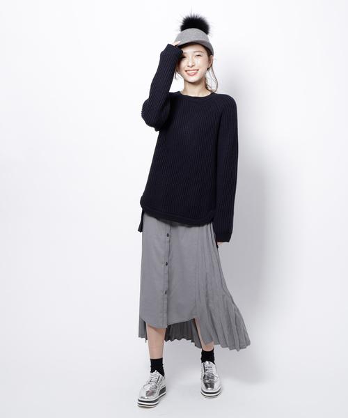 Re.Verofonna(ヴェロフォンナ)の「シャツ切替プリーツスカート付柄編みプルオーバー(ワンピース)」|ネイビー