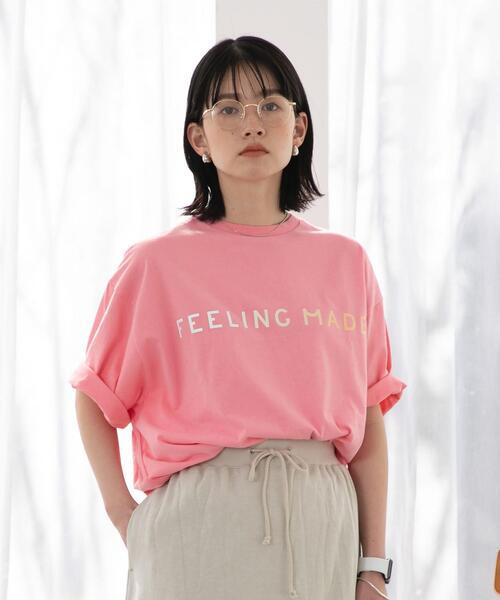 FEELING MADE ブラッシュドコットン グラデーション ロゴ Tシャツ