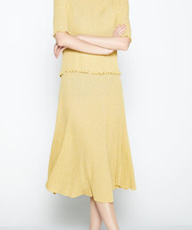 SAISON DE PAPILLON(セゾンドパピヨン)のラメ入りミモレ丈プリーツスカート(スカート)