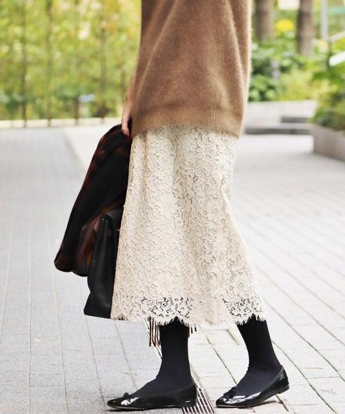 IENA(イエナ)の「レースタイトスカート◆(スカート)」|アイボリー