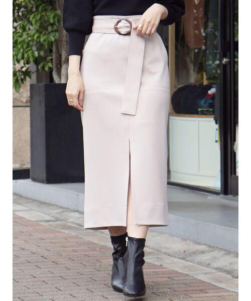 MERCURYDUO(マーキュリーデュオ)の「ポンチスリットタイトスカート(スカート)」|ベージュ