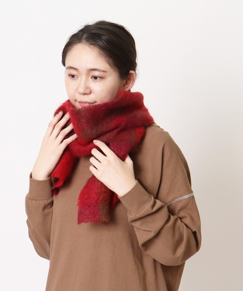 【 CUSHENDALE / カシュヘンデール 】 BRUSHED MOHAIR SCARF SHORT SIZE・・