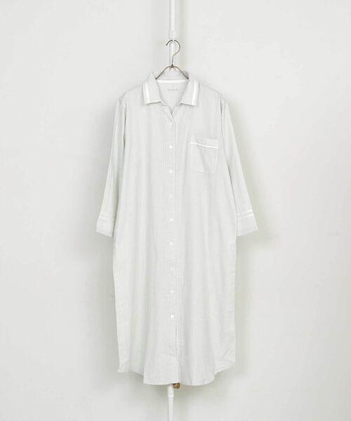 ストライプ柄コットンストレッチダブルガーゼ襟付きワンピースパジャマ