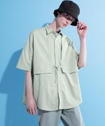 ヨークトレンチレイヤードワイドシャツ 1/2 sleeve(EMMA CLOTHES)グリーン系その他