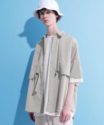 ヨークトレンチレイヤードワイドシャツ 1/2 sleeve(EMMA CLOTHES)グレイッシュベージュ
