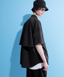 ヨークトレンチレイヤードワイドシャツ 1/2 sleeve(EMMA CLOTHES)ブラック